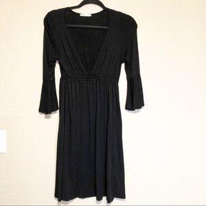 Soprano Little Black Dress V-Neck Bell Sleeves M